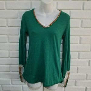 Anthropologie Little Yellow Button Green Top S